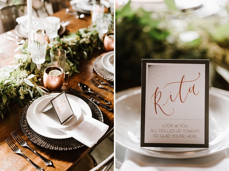 Picture Of vintage industrial rehearsal dinner copper details  6