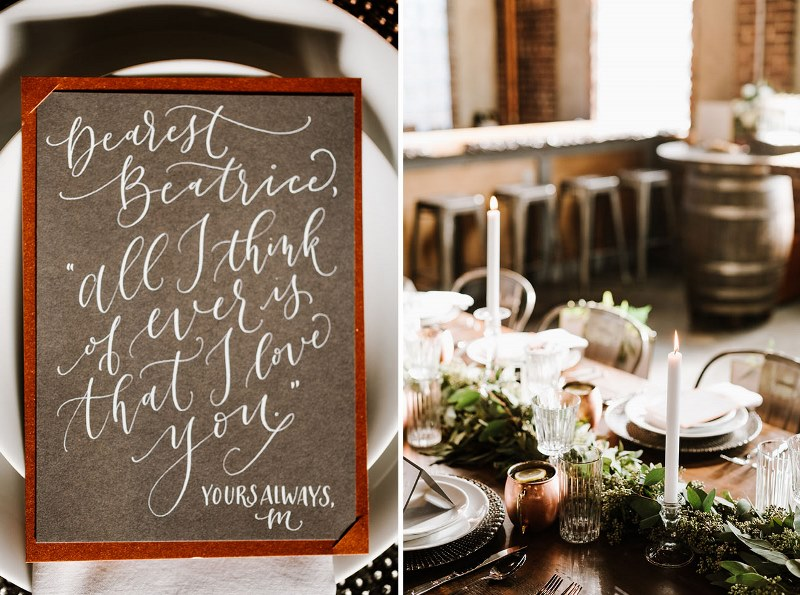 Picture Of vintage industrial rehearsal dinner copper details  8