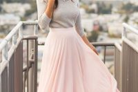 02 blush maxi, a grey shirt and a statement necklace