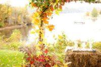 02 bold fall leaves wedding arch