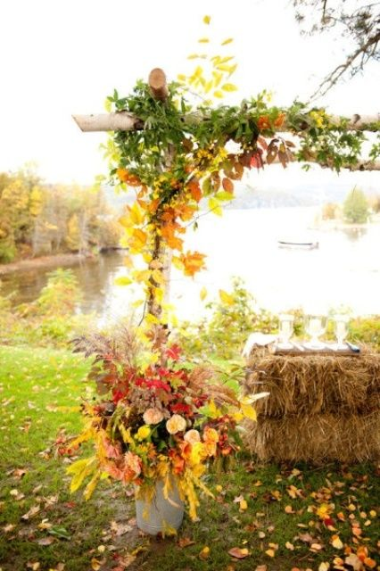 bold fall leaves wedding arch