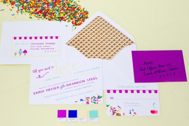 bold invitations with waffle-printed envelopes