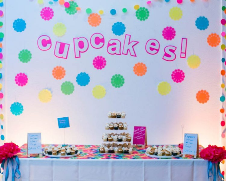 The dessert table background was decorated with colorful paper doilies
