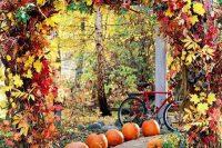03 fall leaves wedding arch
