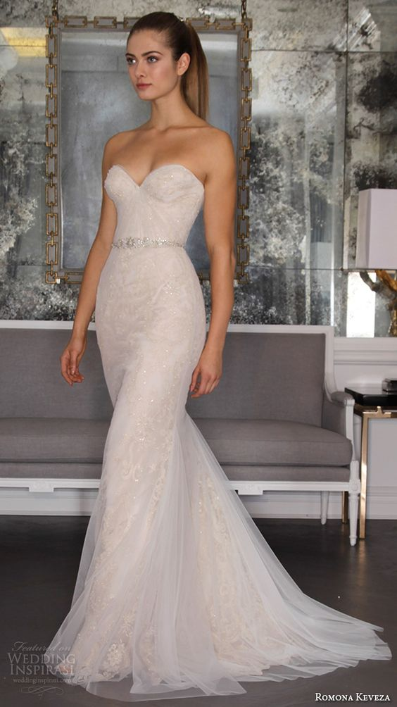 Picture Of strapless sheath wedding gown
