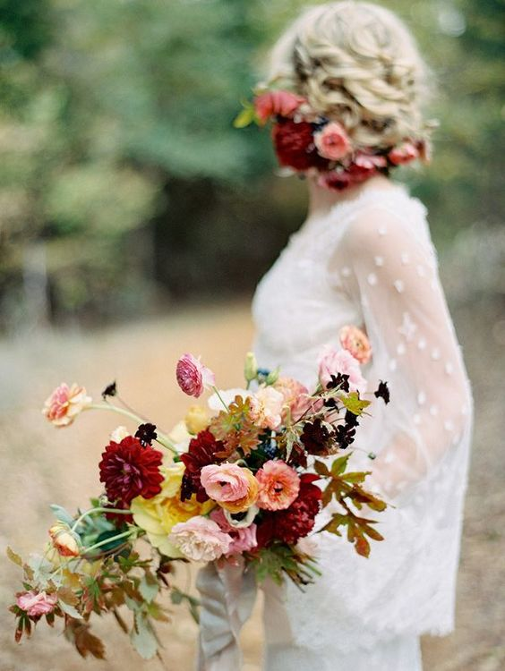 boho chic fallw edding bouquet