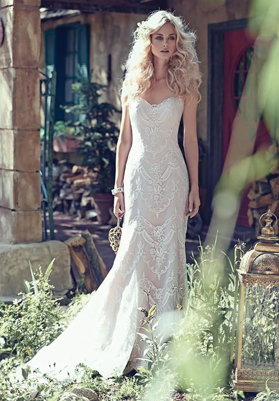 boho chic strapless sheath wedding dress