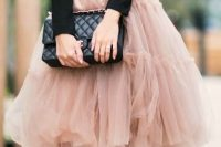 05 dusty pink tutu skirt, a black shirt and black shoes