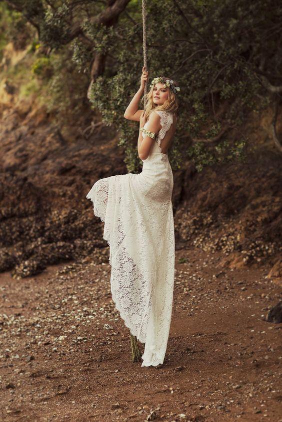 open back lace boho dress