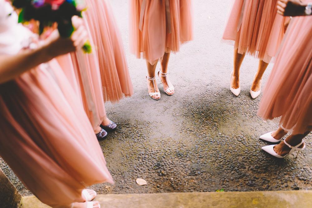 tea length peach bridesmaids dresses