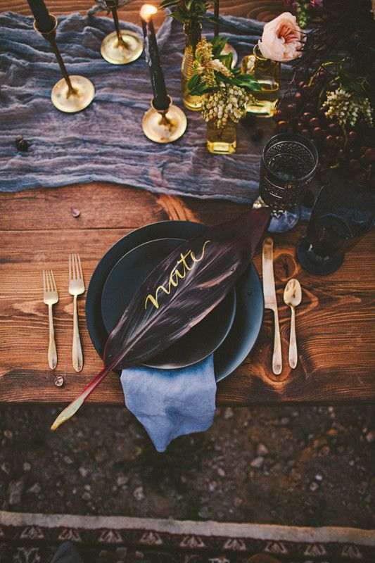 dark boho wedding table setting