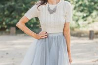 06 grey midi tulle skirt with a creamy top and a statement necklace