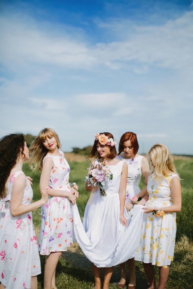 bold floral bridesmaids dresses