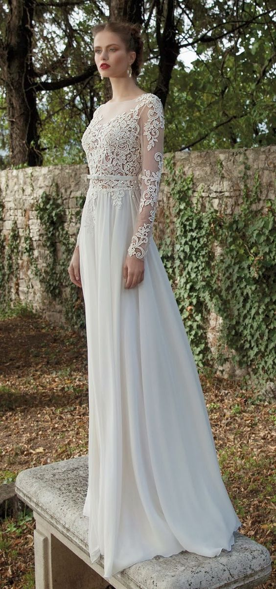 lace bodice and plain skirt dress
