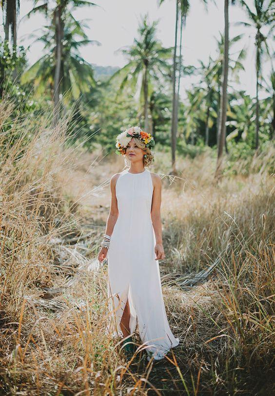halter neckline minimalist gown