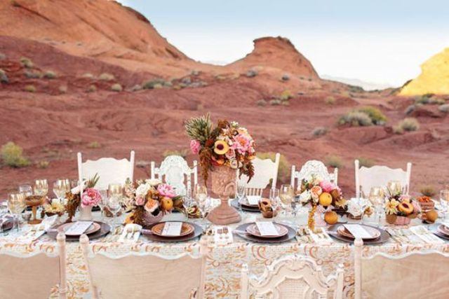 peach desert tablescape