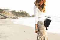 08 sequin maxi and a white sweater