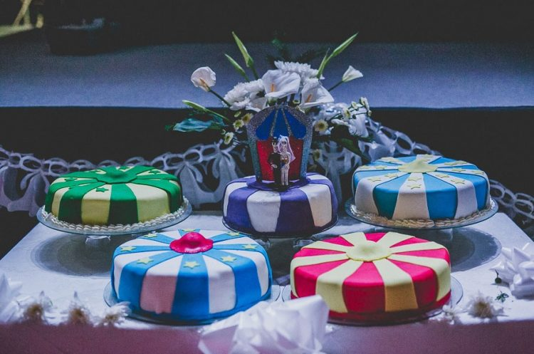 the wedding cakes were don in circus style