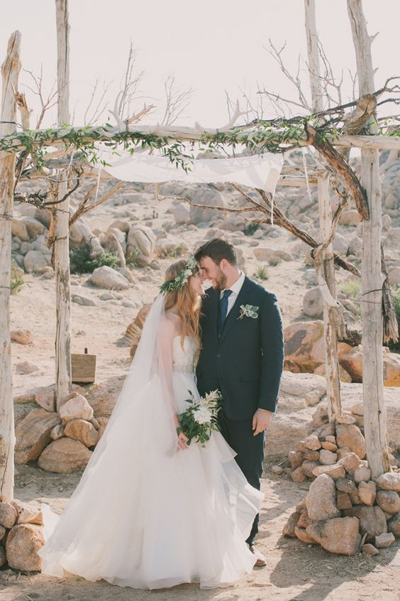 boho desert wedding arch right in the desert