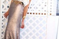 09 sequin maxi skirt with a ruffle sleeve white top