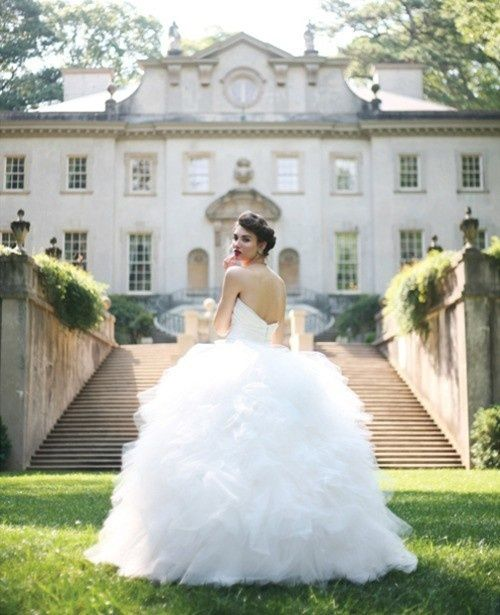ruffled strapless ball gown