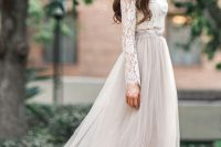 10 tulle maxi skirt, long sleeve lace shirt and nude pumps