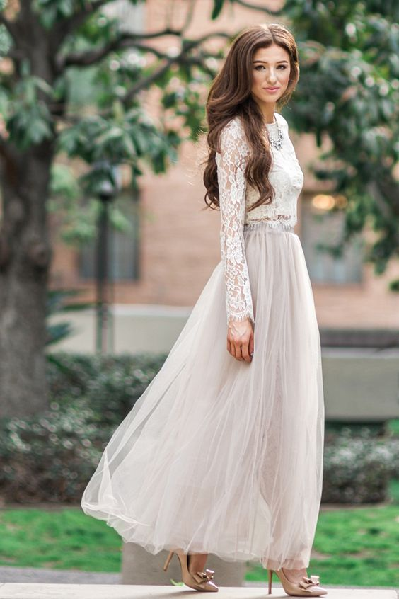 tulle maxi skirt, long sleeve lace shirt and nude pumps