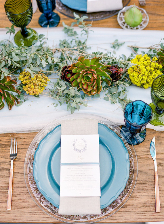 blue shades and succulents for the tablescape