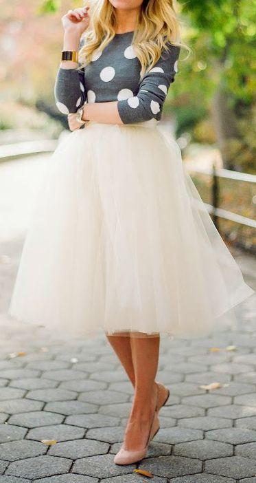 tutu skirt, a polka dot shirt and blush flats