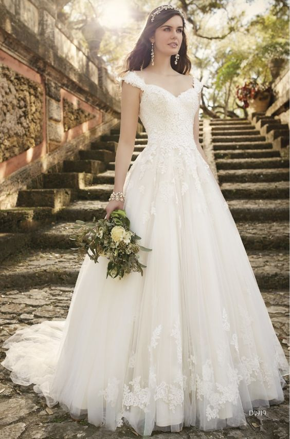 A-line wedding dress with cap sleeves