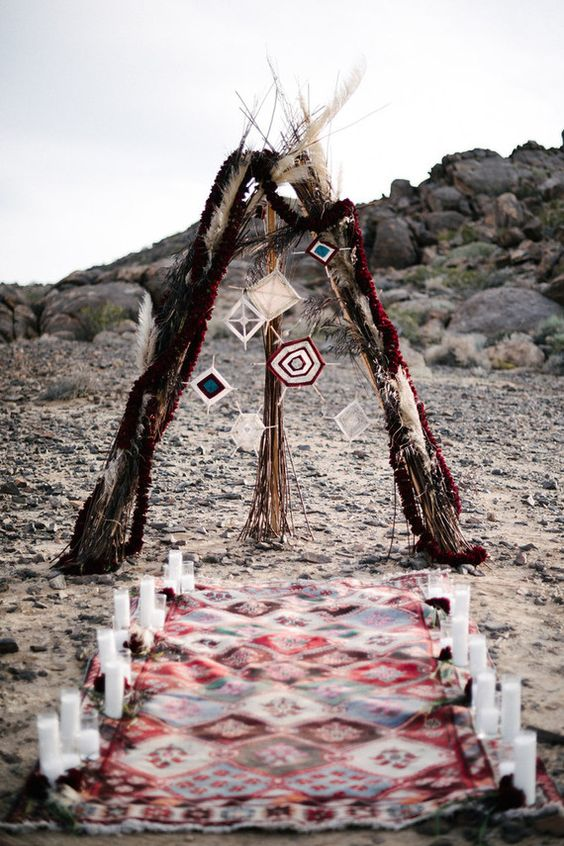 boho teepee desert wedding dress arch