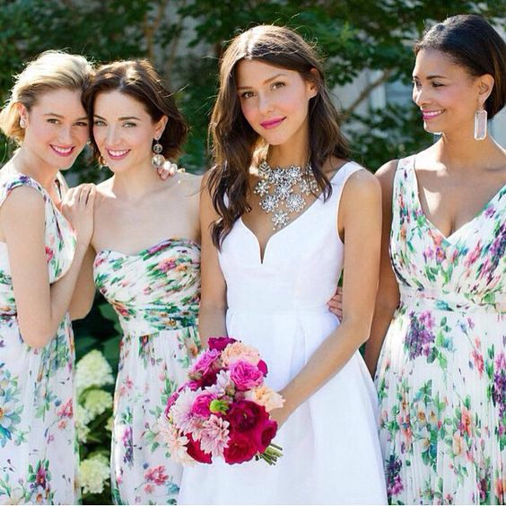 colorful floral bridesmaids dresses