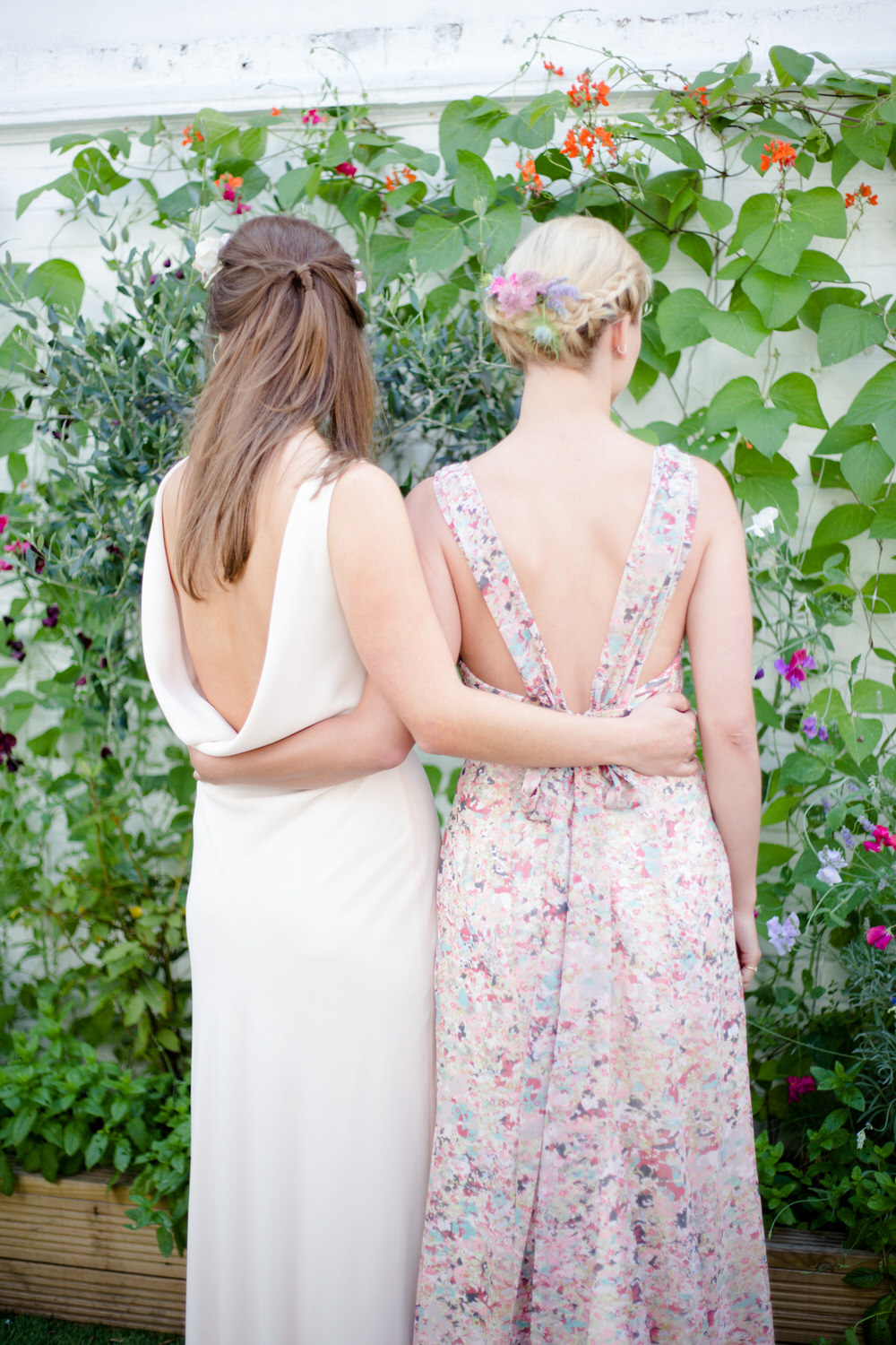 open back floral bridesmaids dress