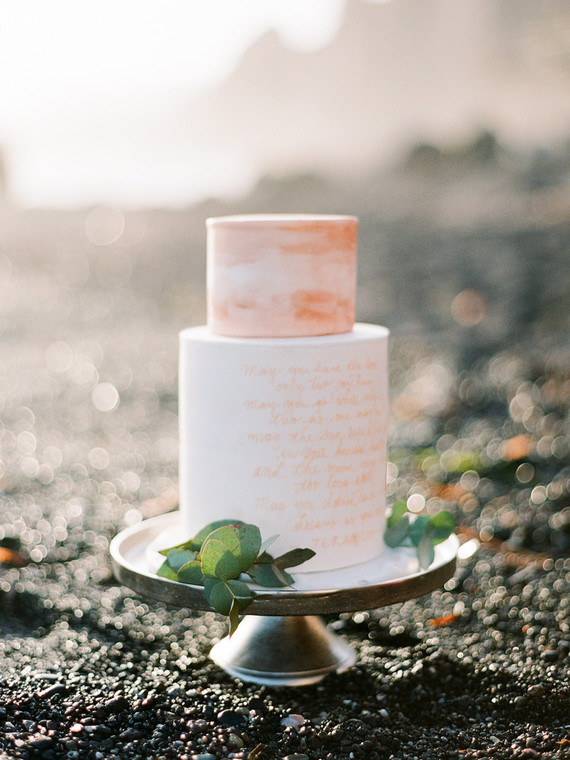 amber-colored cake with quotes