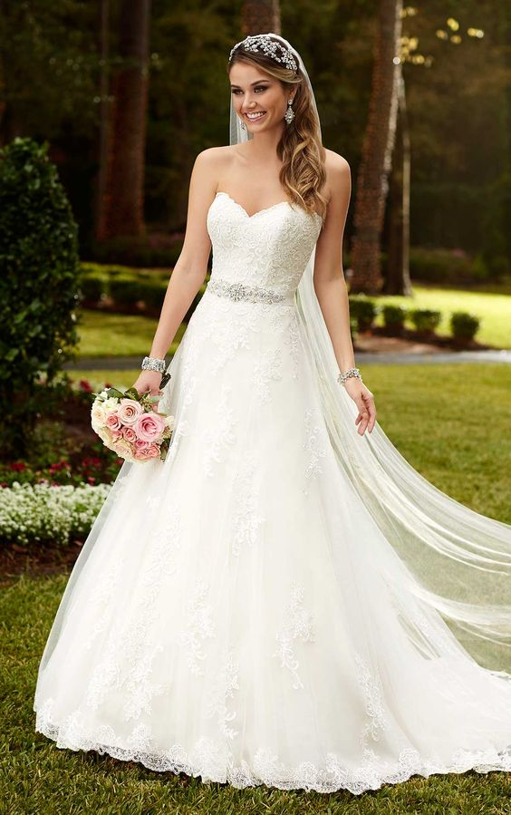 classic A-line wedding dress with an embellished belt