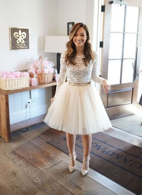 white tutu lace shirt and grey pumps