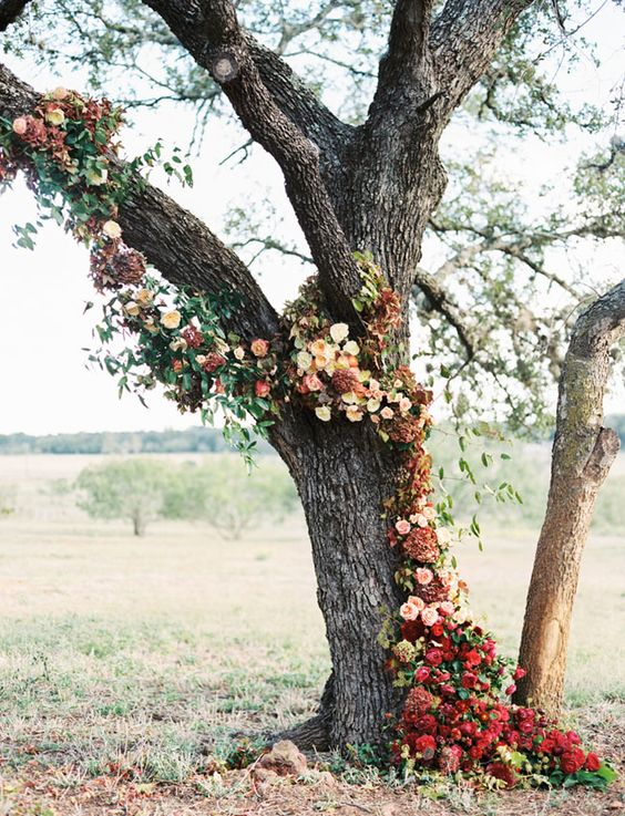 boho chic fall wedding altar