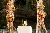 17 fall-colored bold rustic wedding arch