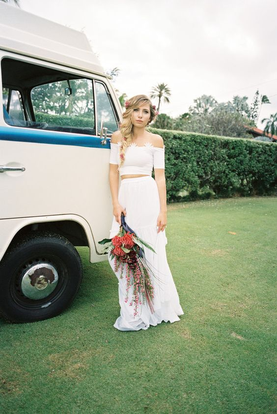 Off the shoulder bridal separates are two hot trends in one: you get a separate and off the shoulder piece, this is very fashion-forward.