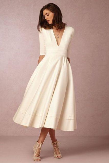 Plain White Midi Dress