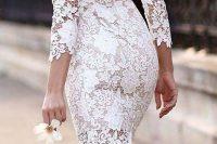 19 white lace knee length dress