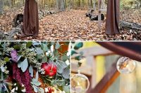 20 arch decorated with greenery, fruit and hanging candle holders