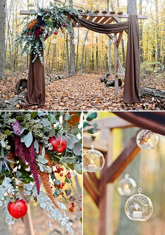 27 fall wedding arches that will make you say i do weddingomania arch decorated with greenery fruit and hanging candle holders junglespirit Image collections