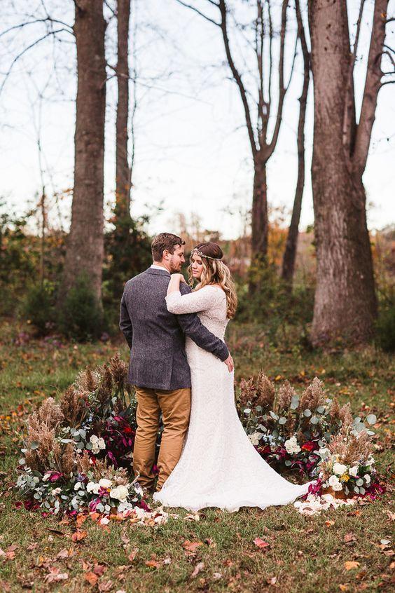 boho chic wedding setting outdoors