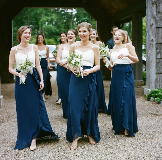 two piece navy and white bridesmaids dresses