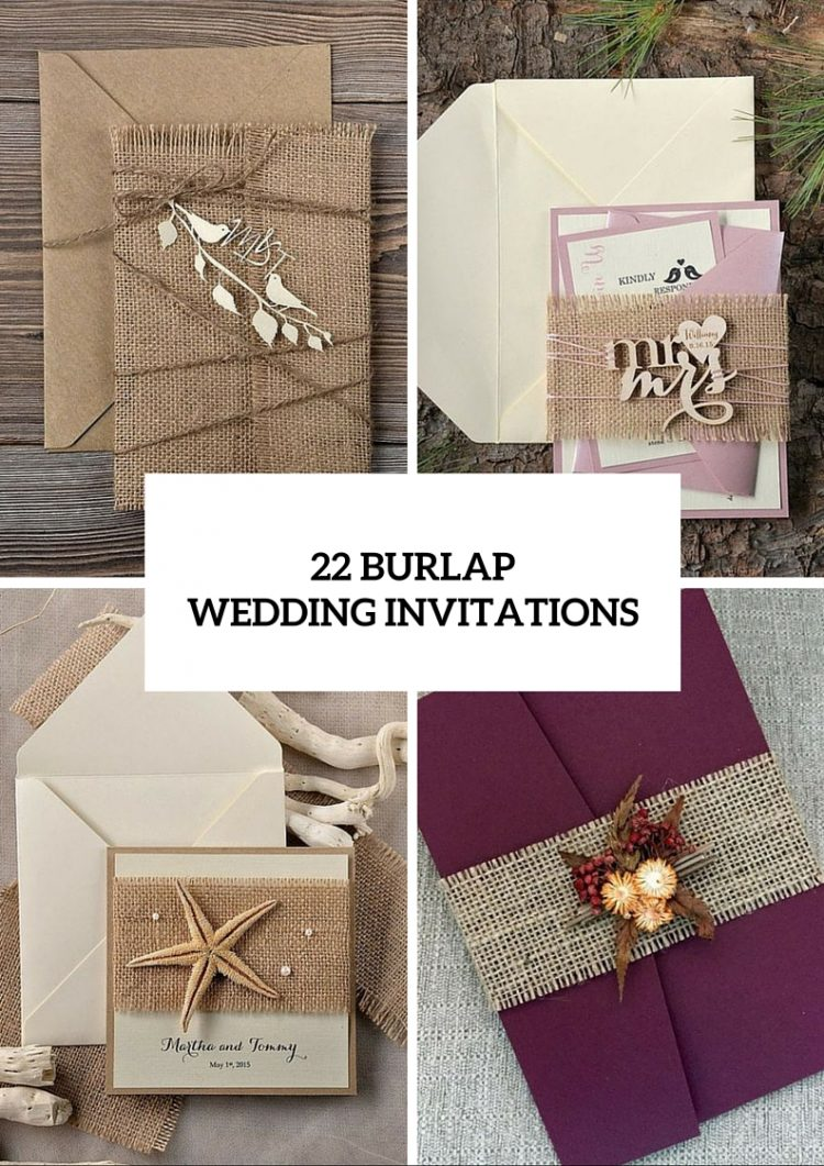 22 Cute Burlap Wedding Invitation Ideas - Weddingomania