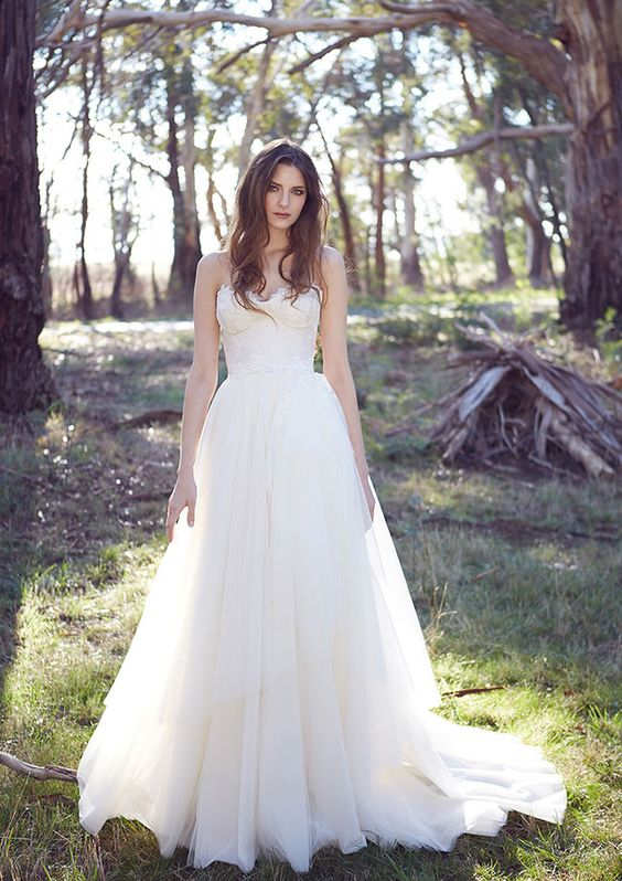 lace corset A-line wedding dress