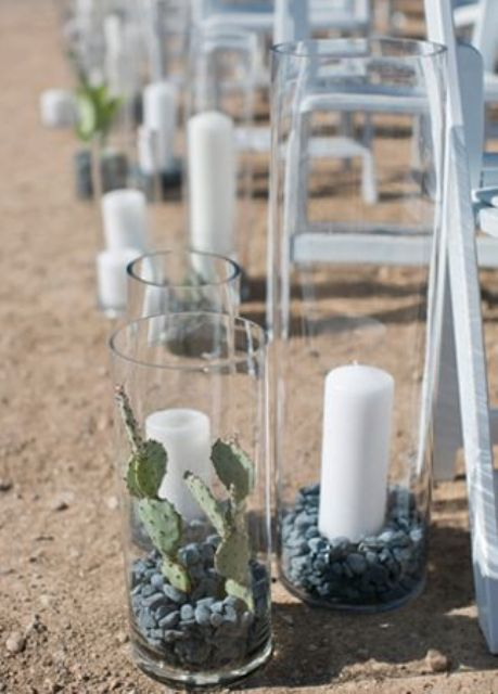 desert wedding aisle with cacti