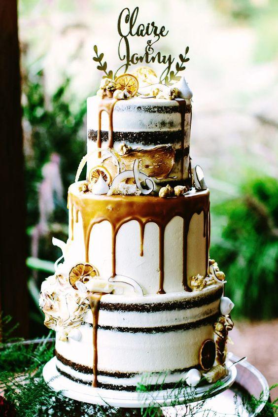 gold boho wedidng cake with caramel drip
