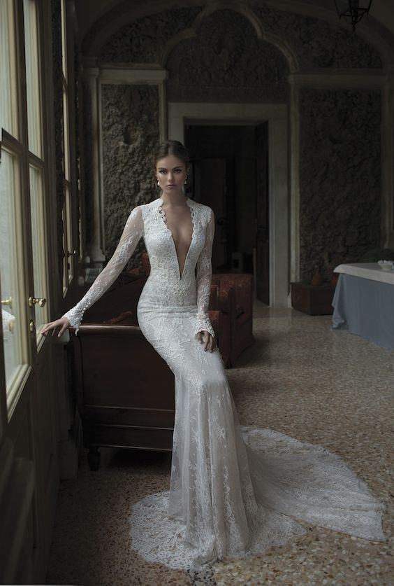 long-sleeved lace plunging neckline gown